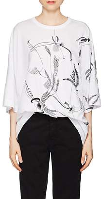 Dries Van Noten Women's Floral-Embroidered Cotton Oversized T-Shirt