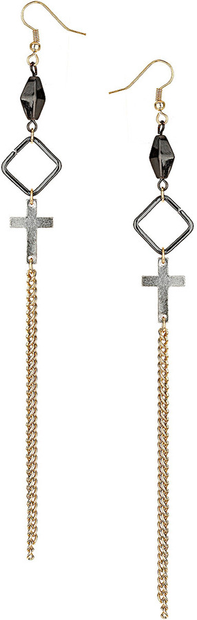 Topshop Cross and Diamond Earrings