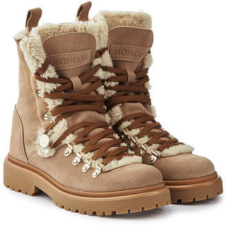 Moncler Berenice Suede Ankle Boots with Shearling