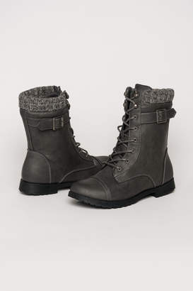 Ardene Laced Combat Boots with Knit
