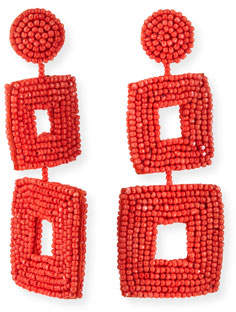 Kenneth Jay Lane Double Square Seed Bead Drop Earrings, Coral