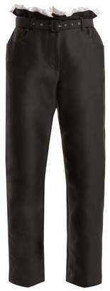 Isa Arfen Gathered Waist Cropped Cotton Blend Trousers - Womens - Black