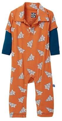 Kickee Pants Print Long Sleeve Polo Romper (Baby Boys)