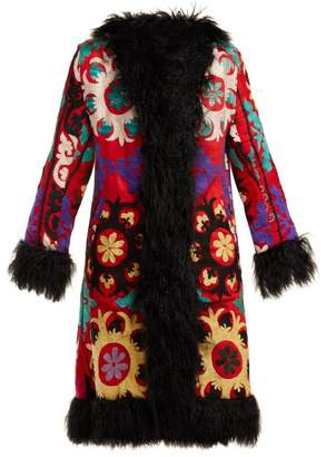 Zazi Vintage - Suzani Embroidered Shearling Coat - Womens - 204 Black Multi