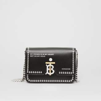Burberry Small Studded Montage Print Leather TB Bag
