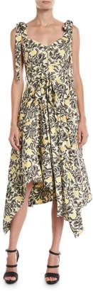 Proenza Schouler Sweetheart-Neck Tie-Straps Paisley Floral-Print Midi Dress
