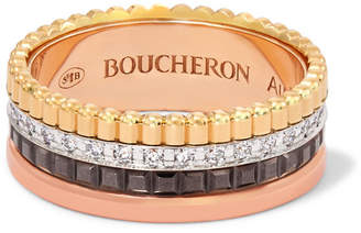 Boucheron Quatre Classique Small 18-karat Yellow, Rose And White Gold Diamond Ring