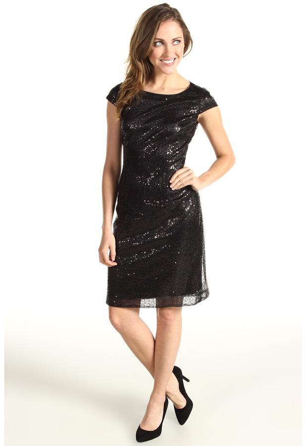 Tahari by Arthur S. Levine Tahari by ASL - Leo Short Sleeve Sequin Shift Dress (Black) - Apparel