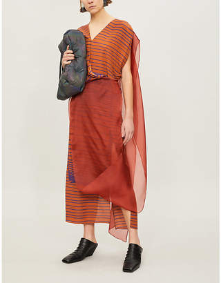 Chalayan Organza-overlay silk-crepe midi dress