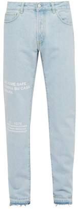 Marcelo Burlon County of Milan Text Print Straight Leg Jeans - Mens - Blue