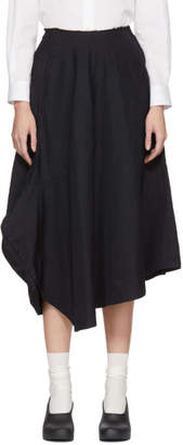 Comme des Garcons Navy Skewed Panelled Skirt