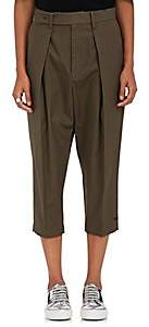 Yohji Yamamoto Regulation Women's Cotton Canvas Drop-Rise Pants - Olive
