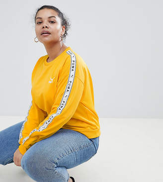 Puma Exclusive To ASOS Plus Sweatshirt With Taped Side Stripe In Yellow