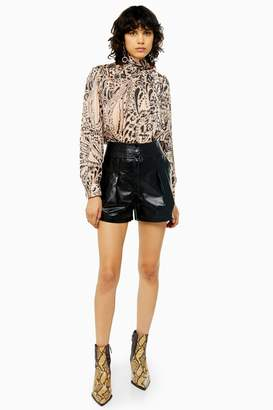 Topshop Womens Idol Black Topstitch Leather Shorts - Black