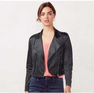 Lauren Conrad Women's Faux-Suede Moto Jacket