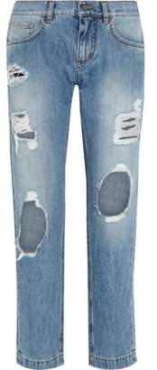 Dolce & Gabbana Distressed Mid-Rise Slim Boyfriend Jeans
