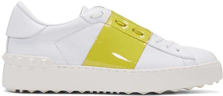 Valentino White & Yellow Open Sneakers