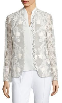 Elie Tahari Tori Embroidered Jacket $398 thestylecure.com