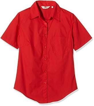 Fruit of the Loom Women's Poplin Short Sleeve Shirt,12 (Manufacturer Size:)