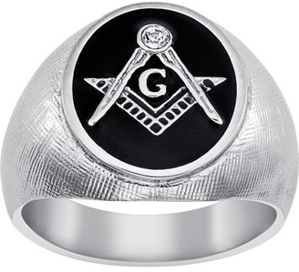 Personalized Planet Jewelry Stainless Steel Masonic Oval Textured Ri
