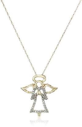 14k Yellow Gold Diamond Angel Pendant (1/8 cttw