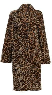 Michael Kors Shearlign Lamb Animal Print Coat