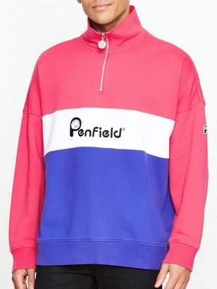 Penfield Cameron Logo Print Half Zip Sweatshirt - Raspberry