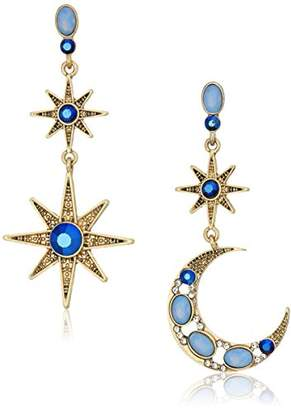 Betsey Johnson Mystic Baroque Queens and Gold Moon and Star Drop Earrings