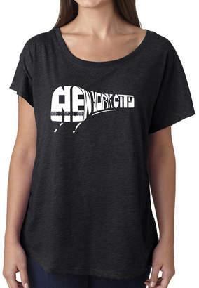 LOS ANGELES POP ART Los Angeles Pop Art Women's Loose Fit Dolman Cut Word Art Shirt - NY SUBWAY