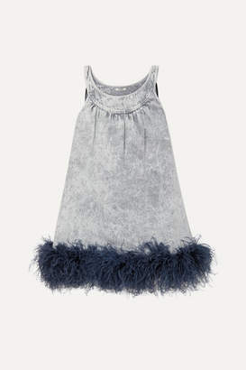 Miu Miu Feather-trimmed Embroidered Denim Mini Dress - Gray