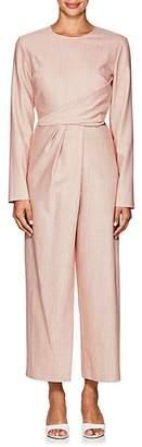 Sies Marjan Women's Pia Striped Stretch-Wool Wrap Jumpsuit - Lipstick