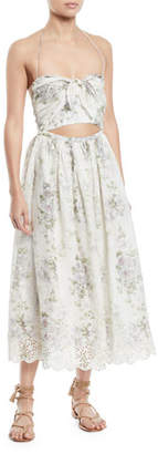 Zimmermann Iris Floral-Print Halter Cutout Midi Dress