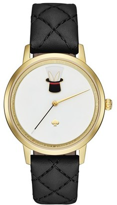 Women's Kate Spade New York Metro Magic Hat Leather Strap Watch, 34Mm $225 thestylecure.com