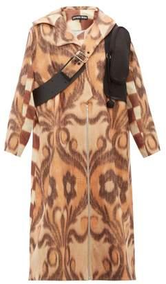 BEIGE Chopova Lowena - Leather Strap Wool Blend Coat - Womens