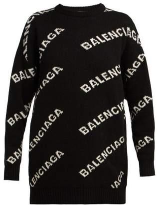 Balenciaga Logo Jacquard Sweater - Womens - Black White