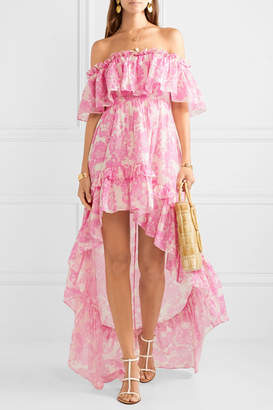 LoveShackFancy Alexia Asymmetric Ruffled Floral-print Cotton And Silk-blend Voile Dress - Pink
