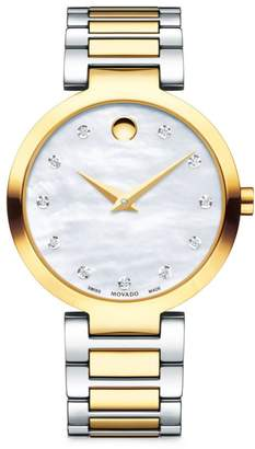 Movado Modern Classic Mother-of-Pearl and Stainless Steel Bracelet Watch