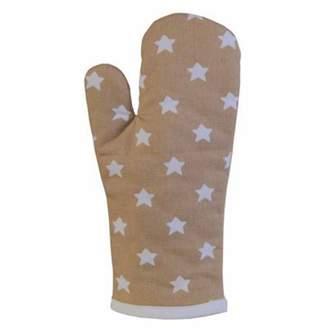 BEIGE Homescapes Cotton Stars White Oven Glove