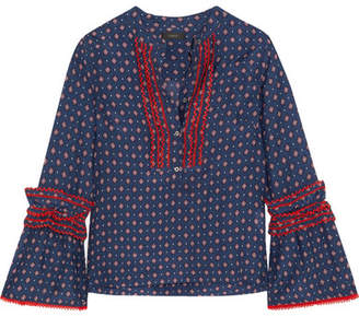 J.Crew Ludwig Embroidered Printed Cotton And Silk-blend Blouse - Blue