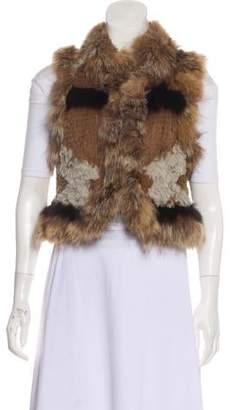 Elizabeth and James Fur Open-Front Vest