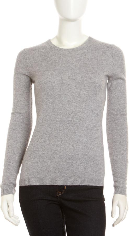 Neiman Marcus Cashmere Crewneck Long-Sleeve Sweater, Gray