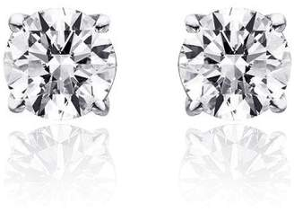 14K White Gold 0.95ct. Round Brilliant Cut Diamond Solitaire Stud Earrings