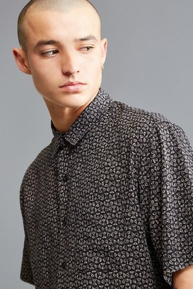 Urban Outfitters UO Ditsy Triangle Rayon Short Sleeve Button-Down Shirt $49 thestylecure.com
