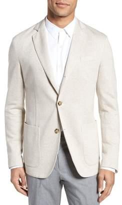 Eleventy Trim Fit Herringbone Linen & Cotton Jacket