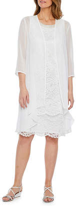 MAYA BROOKE Maya Brooke 3/4 Sleeve Beaded Neckline Lace Jacket Dress