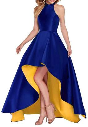Dannifore Royal Blue Satin Halter High Low Evening Party Dress Sleeveless Yellow Prom Dresses
