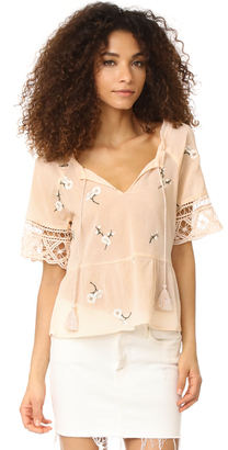 BB Dakota Alecia Embroidered Lace Trim Top $85 thestylecure.com