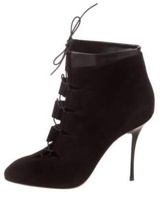 Santoni Suede Lace-Up Boots Black Suede Lace-Up Boots