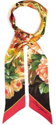 Dolce & Gabbana Rose Print Silk Twill Scarf - Womens - Black Multi