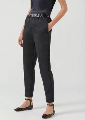 Emporio Armani Satin Trousers With Elasticated Logo Band